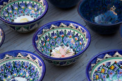 Rows of cups with traditional uzbekistan ornament, Bukhara, Uzbe Royalty Free Stock Photo