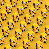 Rows Cute Cartoon Toy Dog Character Persons. 3d Rendering. Rows Cute Cartoon Toy Dog Character Persons on a yellow background. 3d Rendering royalty free illustration