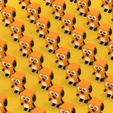 Rows Cute Orange Cartoon Toy Dog Character Persons. 3d Rendering. Rows Cute Orange Cartoon Toy Dog Character Persons on a yellow background. 3d Rendering stock illustration