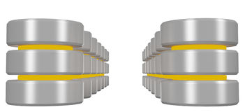 Rows of databases icon with yellow elements perspective view Stock Photos