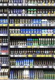 Rows of deodorants containers exposed in a supermarket for sale Stock Photography