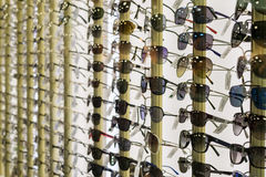Rows of Designer Consumer Sunglasses Royalty Free Stock Images