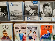 Fathers day cards on display in a store for sale in the UK royalty free stock photo