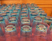 Rows of drinking glasses Stock Images