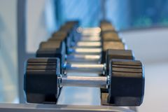 Rows of dumbbells in the gym. stock photos