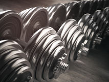 Rows of dumbbells  in the gym. Royalty Free Stock Photo
