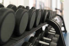 Rows Of Dumbbells In The Gym Royalty Free Stock Photography