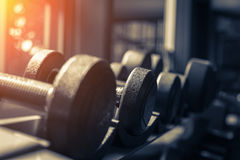 Rows of dumbbells in the gym with hign contrast and monochrome c Stock Images