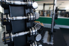 Rows Of Dumbbells In The Gym Royalty Free Stock Image