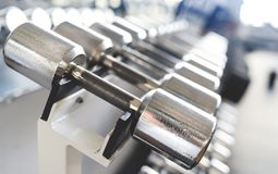 Rows of dumbbells in the gym Royalty Free Stock Photos