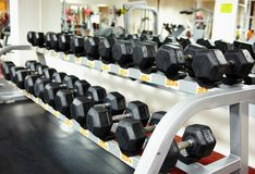 Rows of dumbbells on the rack Stock Image
