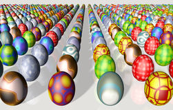 Rows of Easter eggs Royalty Free Stock Images