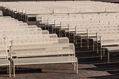 Rows of Empty Audience benches with Center Aisle, Right Royalty Free Stock Images