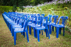 Rows of empty blue and white chairs waiting Royalty Free Stock Photo