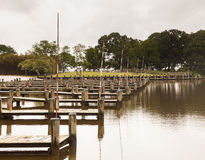Rows of empty boat dock harbor Stock Image