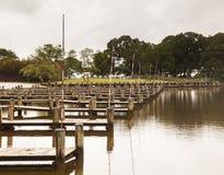 Rows of empty boat dock harbor Stock Image
