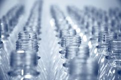 Rows of empty bottles royalty free stock photography