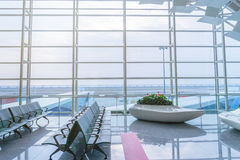 Rows of empty chairs at airport Royalty Free Stock Photos