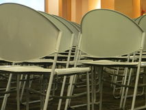 Rows of empty chairs. Rows of empty chairs in a function room Royalty Free Stock Photos