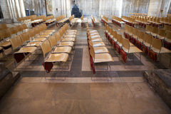 Rows of empty chairs inside Ely Cathedral Stock Photography