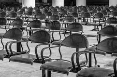 Rows of empty chairs royalty free stock photos