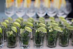 Rows of empty glasses prepared for reception Royalty Free Stock Photo