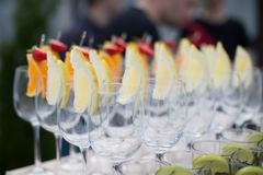 Rows of empty glasses prepared for reception Stock Images