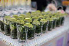 Rows of empty glasses prepared for reception Royalty Free Stock Photography