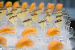 Rows of empty glasses prepared for reception Royalty Free Stock Images