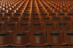 Rows of empty orange seats in the stadium. Places for the spectators. Royalty Free Stock Image