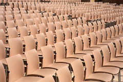 Rows of empty plastic seats Stock Photos