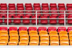 Rows of empty plastic stadium seats Royalty Free Stock Images