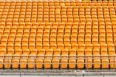 Rows of empty plastic stadium seats Royalty Free Stock Image