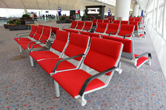 Rows of empty seats Stock Photo