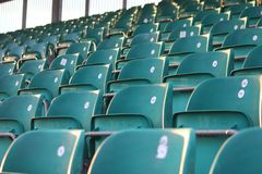 Rows of empty seats in a grandstand Stock Images