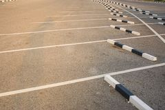 Rows of empty space car parking lot at outdoor. Royalty Free Stock Photos