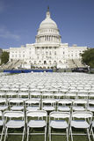 Rows of empty white chairs Stock Image