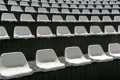 Rows of empty white chairs in the open summer hall for entertainment Royalty Free Stock Photos