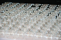 Rows of Empty Wine Glasses on the table Royalty Free Stock Photos
