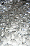 Rows of Empty Wine Glasses on the table Royalty Free Stock Image