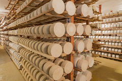 Rows of fermenting cheese Stock Images