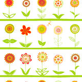 Rows of flowers seamless pattern Royalty Free Stock Photography