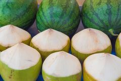 Rows Fresh coconuts and watermelon in the market. IN the market. Royalty Free Stock Photos