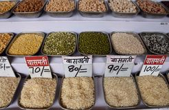 Rows of fresh traditional Indian Dals, legumes, lentils, beans in the Khari Baoli spice market stock image