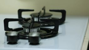 Rows of gas stoves selling in home appliance store stock video footage