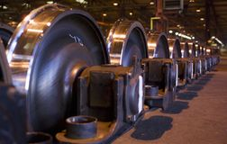 Rows of giant train-wheels. Low angle of row of train-wheels Stock Photo