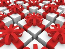 Rows of gift boxes Royalty Free Stock Photography