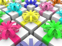 Rows of gift boxes. In backgrounds Stock Photo