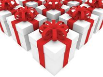 Rows of gift boxes on white Stock Photo