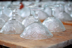 Rows of glass vases in the restaurant kitchen Royalty Free Stock Images